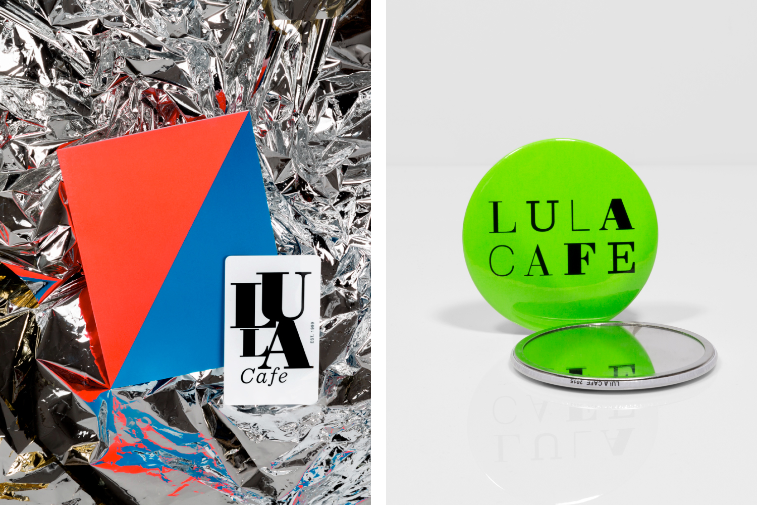 Lula Cafe gift card design and merchandise