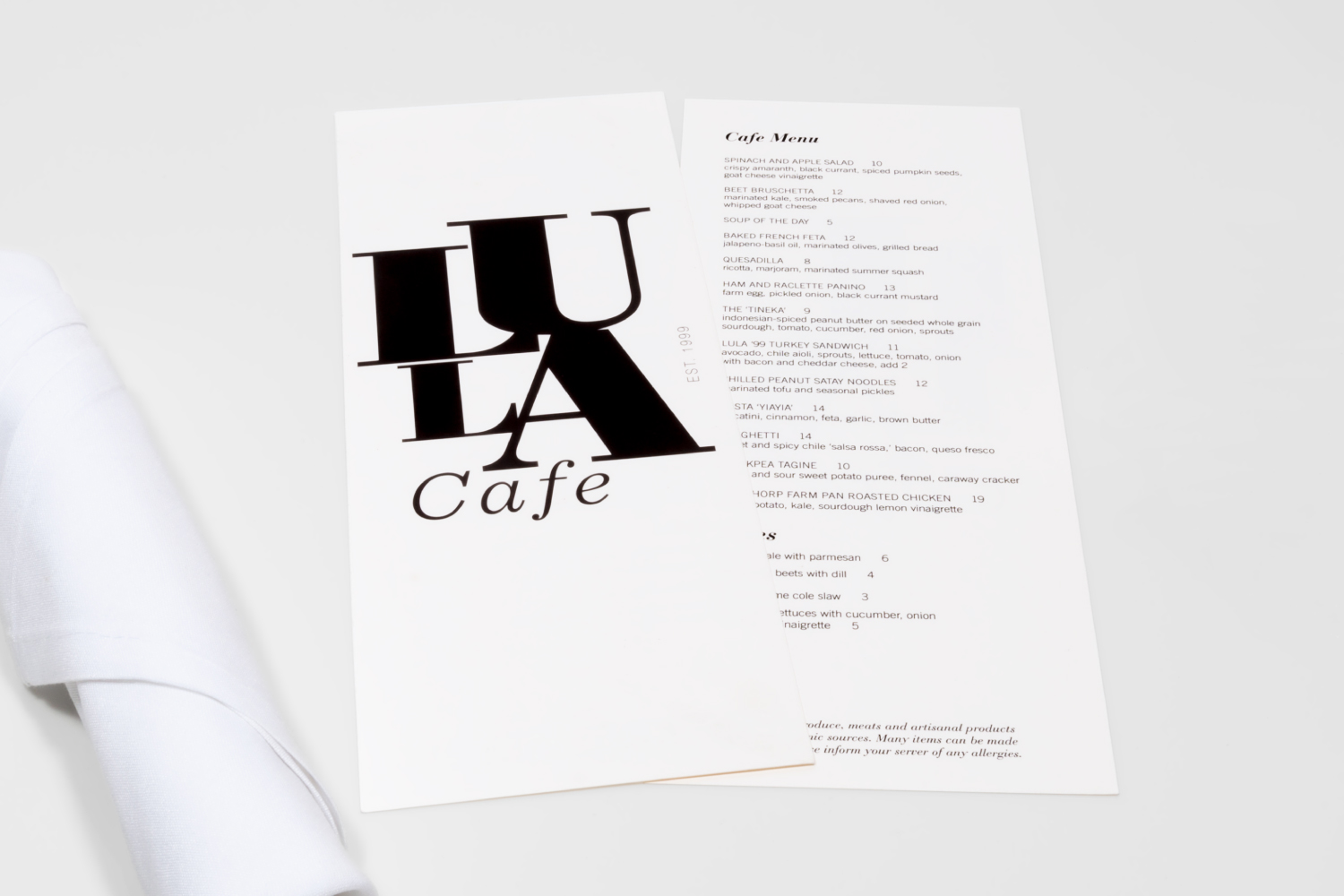 Lula Cafe branding design and menu design.