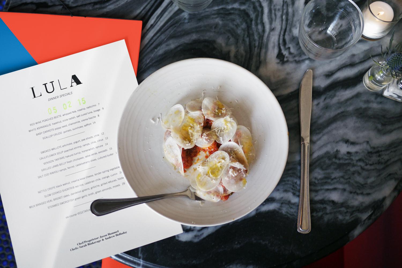 Lula cafe dinner menu design.