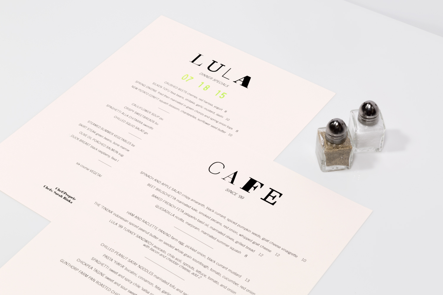 Lula Cafe branding and dinner menu design.