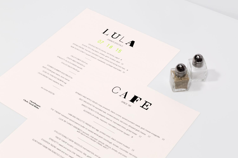Lula Cafe branding and dinner menu design.
