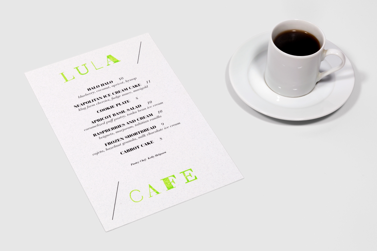 Lula Cafe dessert menu design.