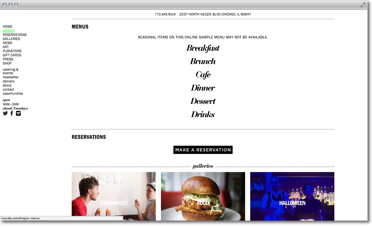Lula Cafe website design