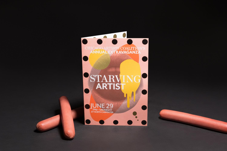Chicago Artist Coalition Starving Artist branding and invite design.