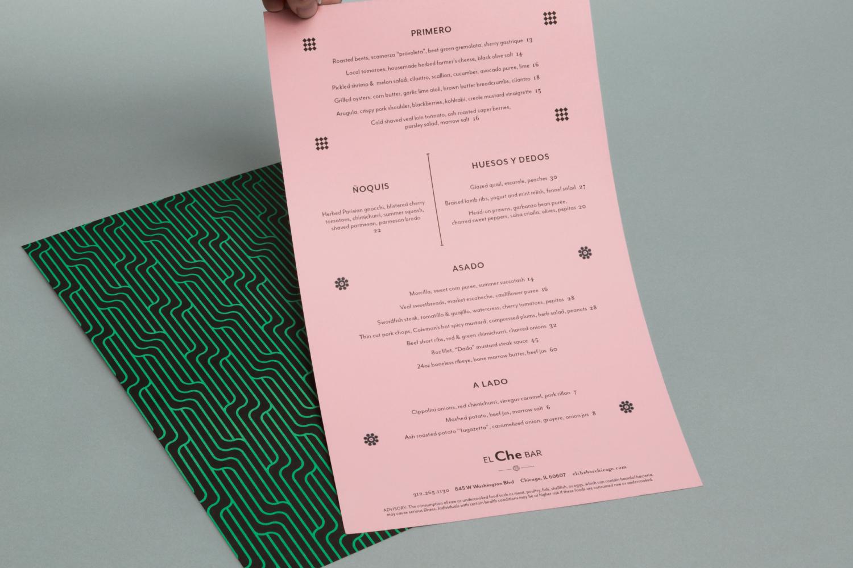 El Che Bar Chicago menu design.