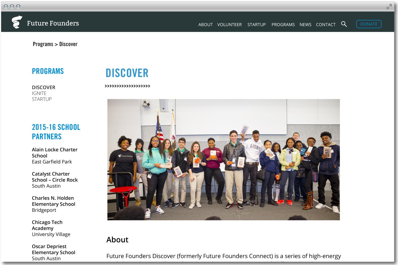 Future Founders Chicago website design.