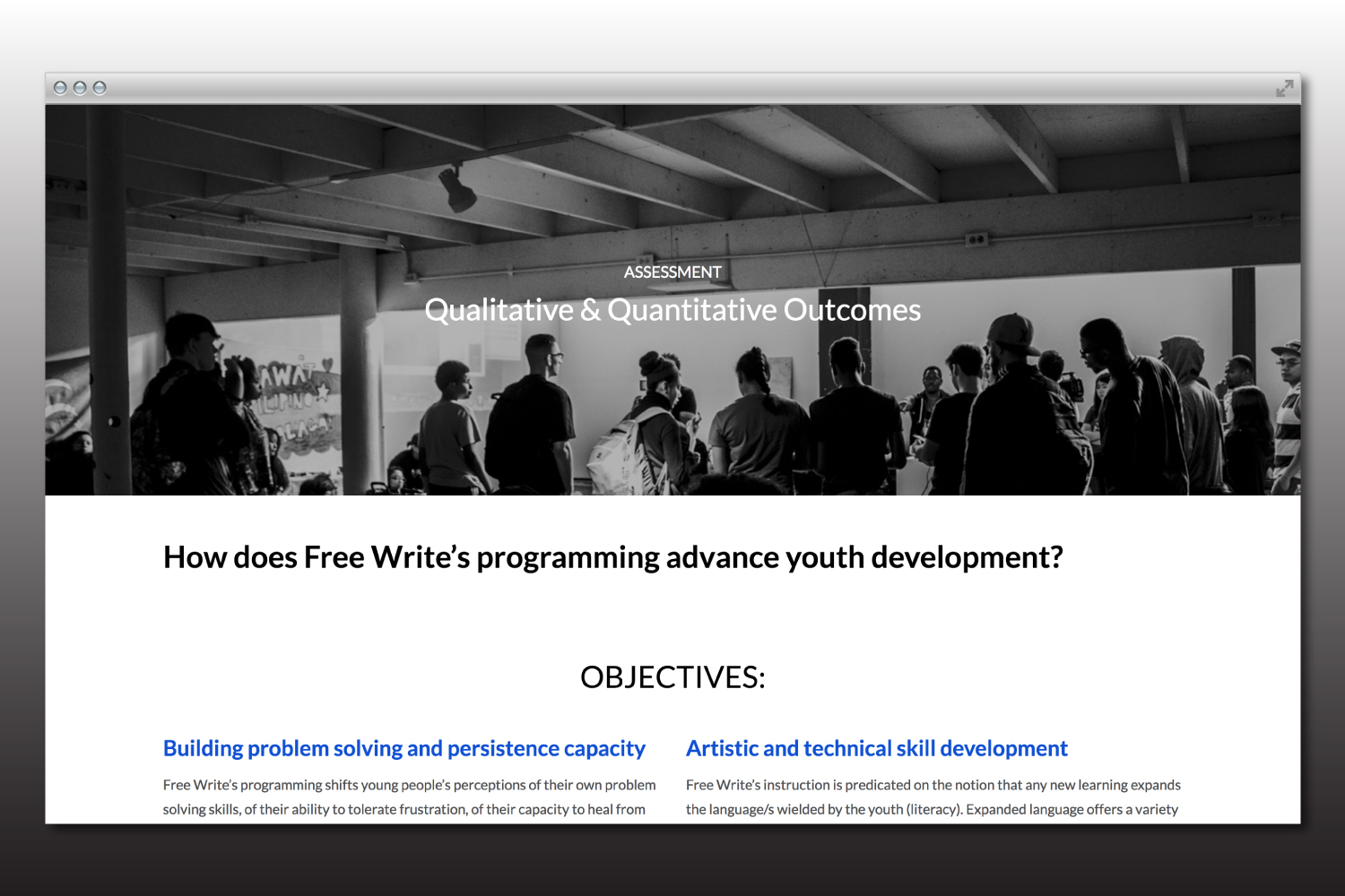 Free Write Chicago nonprofit branding and website design.