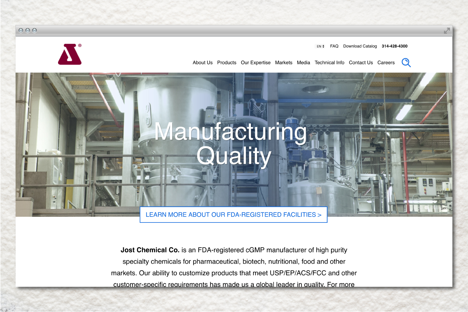 Jost Chemical website design and creative direction.