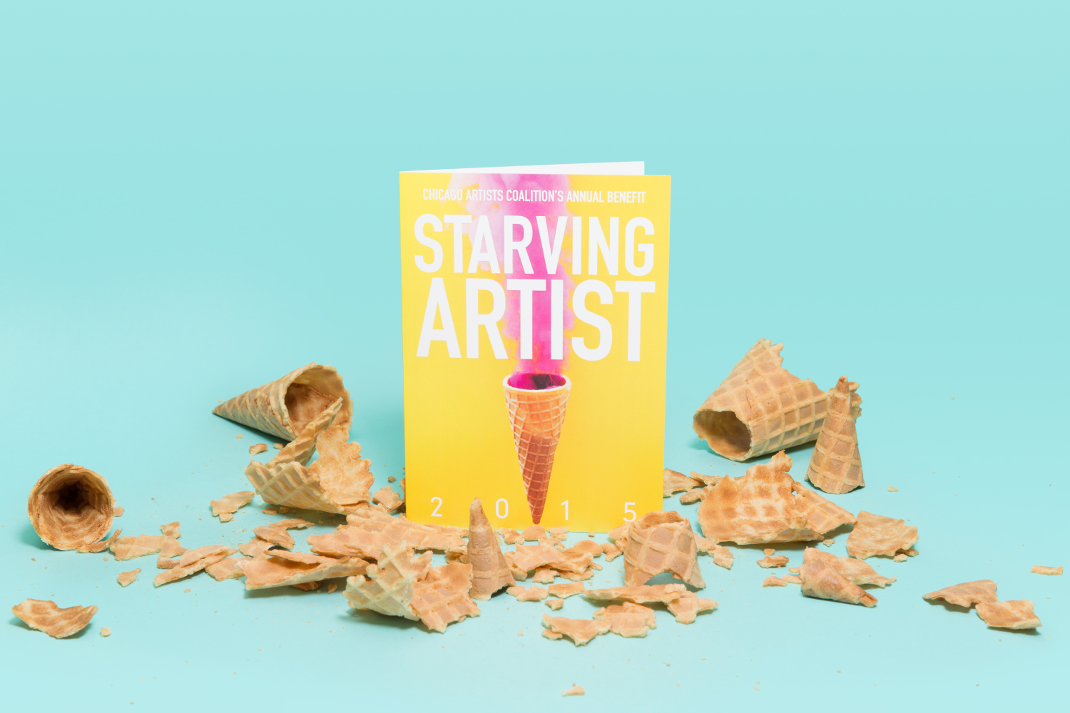 Chicago Artist Coalition Starving Artist branding and invite design.